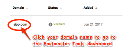 where the postmaster tools domain dashboard is